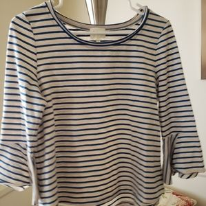 Anthropologie Blue & White Bell Sleeve Striped Top